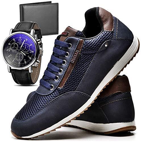 Sapatênis Sapato Casual Com Relógio e Carteira Masculino JUILLI R1100DB Tamanho:40;cor:Azul;gênero:Masculino