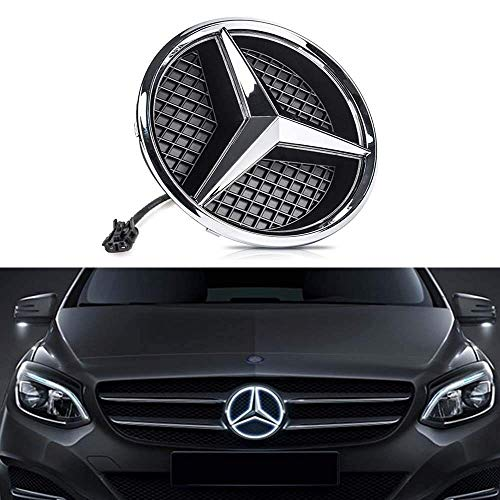 Bearfire White LED Emblem for Mercedes Benz W204 C-Class, X204 GLK-Class, Front Car Grille Badge, Illuminated Logo Hood Star DRL (White, transparent grid)