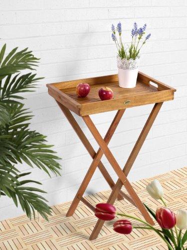 SEDEX Delhi Klapptisch 60x40cm mit abnehmbaren Tablett/Gartentisch/Balkontisch/Eukalyptusholz