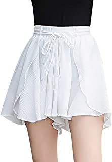 Verypoppa Women's Summer Chiffon Shorts Wide Leg Drawstring Elastic Waist Shorts