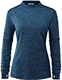 Fulbelle Warm Workout Clothes, Women's Fall Yoga Athletic Tops Dri Fit Running Workout Clothes Gym Sport Hiking Training Shirts Fleece Relaxed Cozy Casual Wear Dark Blue XL