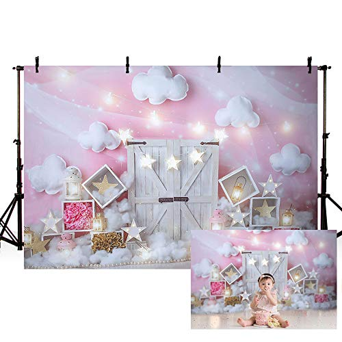 MEHOFOND Sweet Pink and White Cloud Photo Studio Backdrop Props Birthday Girl Baby Shower Party Decorations Twinkle Twinkle Little Stars White Door Portrait Photography Background Banner 7x5ft