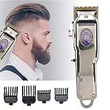 Recortador de barba para hombres, cortapelos USB Recortador de cabello inalámbrico recargable Cortapelos Pantalla LCD profesional Cortadora de cabello eléctrica Corte de cabello