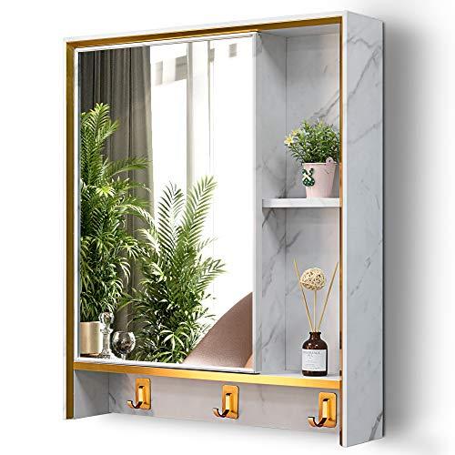 LVSOMT Armario con Espejo de Medicina para baño, Armario de Aluminio montado en la Pared, Armario de Almacenamiento...