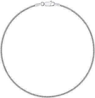 PLANETYS - Cavigliera Argento Sterling 925 Rodiato Modello Catenina Serpente Larghezza: 1.4 mm Lunghezza: 23-24-25 cm