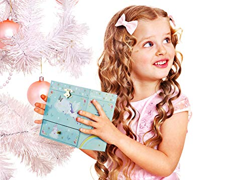 RR ROUND RICH DESIGN Kids Musical Jewelry Box for Girls with 3 Drawers and Jewelry Set with Magical Unicorn - Blue… 9