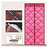 Thermal Insulated Curtains Waterproof PU Panel Partition Curtain for Indoor Bedroom Kitchen Decorative Lace 40 Sizes (Color : Pink Size : 80x190cm)