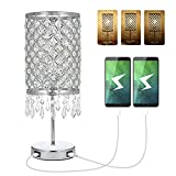 Lámpara de Mesa de Cristal,Tomshine Lámparas de Mesita de Noche Control Táctil Regulable con 2 charge USB Ports y 3 Niveles de Brillo para Sala de Estar, Dormitorio, Comedor