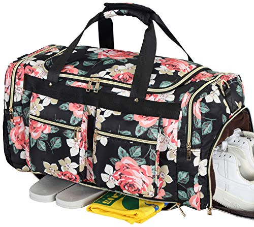 Weekender Overnight Duffel Bag Shoe Pocket for Women Ladies Weekend Travel Tote Carry On Bag (Floral Black)