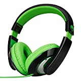 Rockpapa Comfort Stereo On ear/Over ear Headphones Earphones, Adjustable Headband for Kids Childs/Adults, iPad Macbook Surface MP3/4 CD/DVD Laptop Tablet Phone Black Green