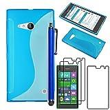 ebestStar - Coque Compatible avec Nokia Lumia 735 730 Dual Etui Housse Silicone Gel TPU Souple Motif S-Line + Stylet + 3 Films...