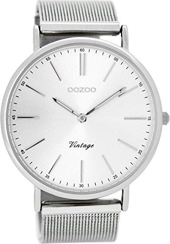 Oozoo Vintage herenhorloge plat metalen band 44 MM zilverkleurig C8816