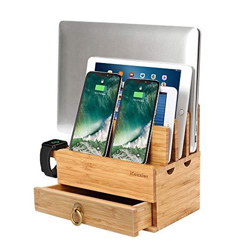 iCozzier - supporto rimovibile per orologi, 4 scomparti, in bambù, con cassetto, stazione di ricarica per dispositivi multipli, per iWatch, smartphone, tablet, computer portatili