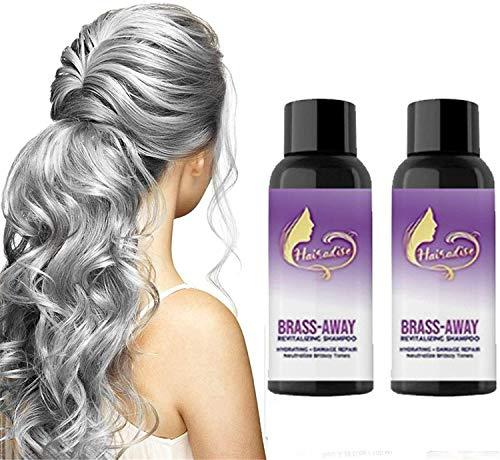 Brass Corrector Violet Shampoo, Brass Away Brass-corrector Violet Shampoo, Purple - Silver Shampoo, Purple Hair Conditioner Para Cabello Rubio, Acondicionador Para Cabello Seco (2PCS100ml)