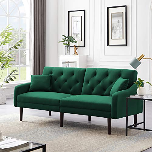 LoLado Futon Sofa Bed Convertible Sleeper Sofa Couch wit Armrests Modern Velvet Sofa Bed for Living Room Office Folding Recliner Futon Couch with Wood Legs (Green)
