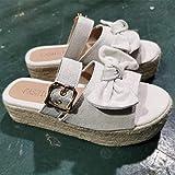 FYSY Ducha Espalda Abierta Zapatillas, Zapatillas de cáñamo Cable de Arco Sandalias-Beige_43, Unisex Adultos Beach Pool Zapatos fangkai77