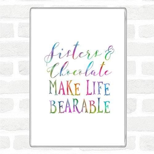 Zusters en chocolade regenboog citaat Jumbo Koelkast magneet