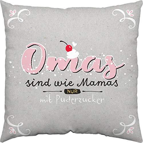 H:)PPY life 46121 Baumwoll-Kissen mit Spruch Omas sind wie Mamas nur mit Puderzucker, 40 cm x 40 cm, Rosa Kissen