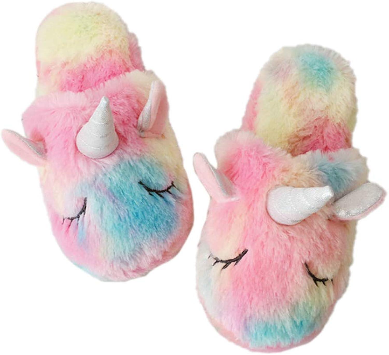 Cute colorful Winter Slippers Velvet Unicorn Plush Women Home Indoor Rainbow Waterproof Non-Slip shoes