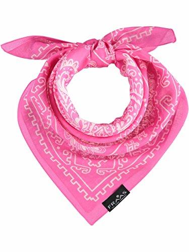 FRAAS Paisley Bandana Halstuch für Damen & Herren - 58 x 58cm Größe - 100% Baumwolle - Zeitloses italienisches paisley Tuch Pink