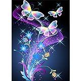 MWOOT 5D Butterfly Diamond Pasted Painting Kit Completo Drill,DIY La Farfalla Pittura Diamante 5D Fai da Te,DIY Strass Ricamo a Punto Croce Craft Arts for Home Wall Decor (30x40cm)