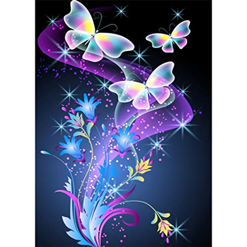 MWOOT 5D MariposaDiamante Pintura por Número Kit,DIY Butterfly Diamond Painting Rhinestone Bordado de Punto de Cruz Artes Manualidades Lienzo Pared Decoración (30x40cm),Azul