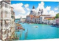Hd抽象絵画キャンバスプリントウォールアート美しい風景風景大運河とサンタマリアデッラサルーテヴェネツィアイタリアモダンウォールアート