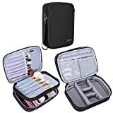 Teamoy Travel Makeup Brush Case(up to 8.8'), Professional Makeup Train Organizer Bag with Handle Strap for Makeup Brushes and Makeup Essentials-Medium, Black(No Accessories Included)
