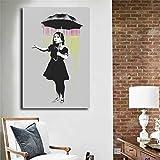 wojinbao kein Rahmen Banksy NOLA Grau Regen Leinwand ng