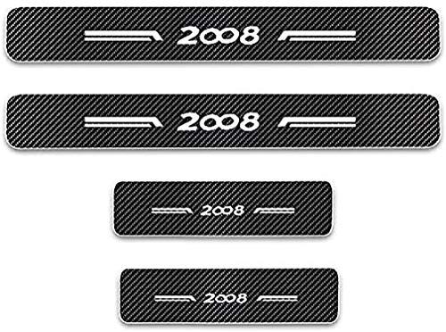 Baozengry 4 Piezas De Placas De ProteccióN para El AlféIzar De La Puerta De Fibra De Carbono para AutomóVil, ProteccióN De Moldura De Pegatina AntiarañAzos para Pedal De Umbral, para Peugeot 2008