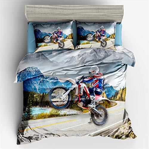 Helehome Dirt Bike Duvet Cover Set Motorcycle Bedding Teen Boys Sport Motorbike with Zipper Closure for Kids 3 Piece Brushed Microfiber Fabric Print, Full Size