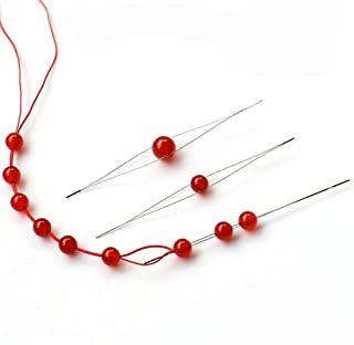 5PCS(5.8CM+7.6CM+10.2CM+11.5CM+12.5CM) Assorted Size Handmade Ultrafine Big Eye Beading Needles Bead Wire Middle Opening Pins Craft Stitch Holders for DIY Manual Necklace Thread Sewing Wear Pins