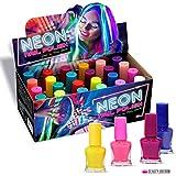 24 x Neon Nagellack 24 Verschiedene Farben Leuchtet im Dunkeln Perfekte Geschenk