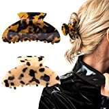 2PCS Hair Claw Banana Clips tortoise Barrettes Celluloid French Design Barrettes celluloid Leopard print Large Fashion Accessories for Women Girls…