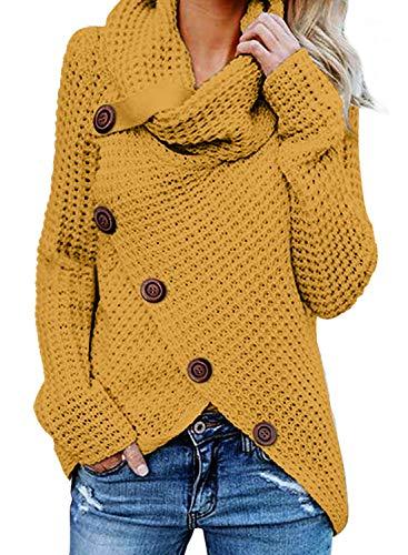 GOSOPIN Damen Pullover lose Pullis Langarm Oberteil Rollkragen Outwear S-XXL, #5, M