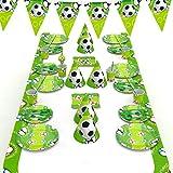 decalmile 146-teiliges Fußball Party Geschirr Set Kinder Geburtstag Party Deko und Geschirr Kit für 16 Personen (Teller, Gabeln Löffel Messer, Tassen, Trinhalme, Servietten, Hüte,...