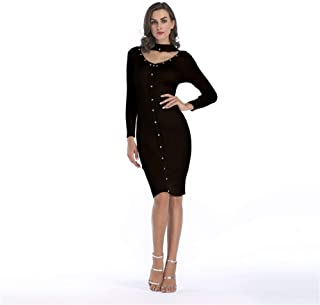 ZCLAU Women's Wool Knit Dress Rivets Decorative Collar Slim Pencil Skirt Girls Long Section (Color : Black, Size : L)