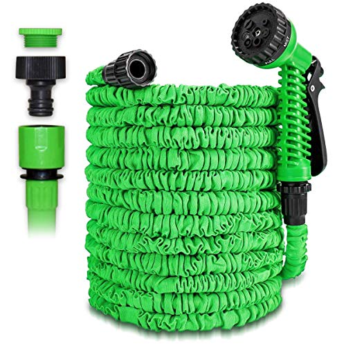 Gartenschlauch Flexibel Wasserschlauch 7,5m 25ft 15m 50ft 22,5m 75ft 30m 100ft 37,5m 125ft 45m 150ft 60m 200ft 75m 250ft Dehnbarer Schlauch Flexibel Bewässerung, Farbe:Grün, Größe:75m - 250ft