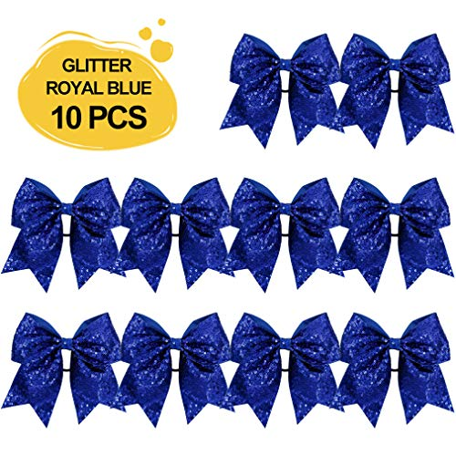 Large Glitter Cheer Bows Ponytail Holder Girls Royal Blue Elastic Hair Ties 6' Big Hair Bows Classic Accessories for Teens Women Cheerleader Girls Pack of 10