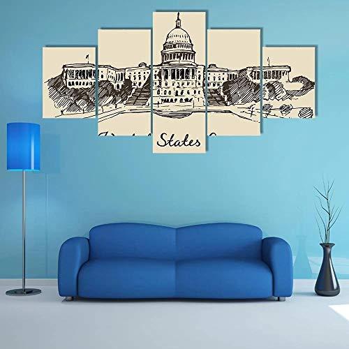 hgjfg 5 Piezas Cuadro sobre Lienzo De Fotos Capital de Estados Unidos Lienzo Impresión Cuadros Decoracion Salon Grandes Cuadros para Dormitorios Modernos Mural Pared Listo para Colgar