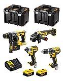 DeWALT Kit DWK400 (Trapano a Percussione DCD796 + Tassellatore DCH273 + Mini-Smerigliatrice DCG405 + Avvitatore ad Impulsi DCF887 + 2 Batterie 5,0 Ah + Caricabatterie + 2 x TSTAK VI)