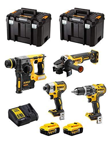 DeWALT Kit DWK400 (Taladro Percutor DCD796 + Martillo Perforador DCH273 + Mini-Amoladora DCG405 + Atornillador de Impacto DCF887 + 2 Baterías de 5,0 Ah + Cargador + 2 x TSTAK VI)