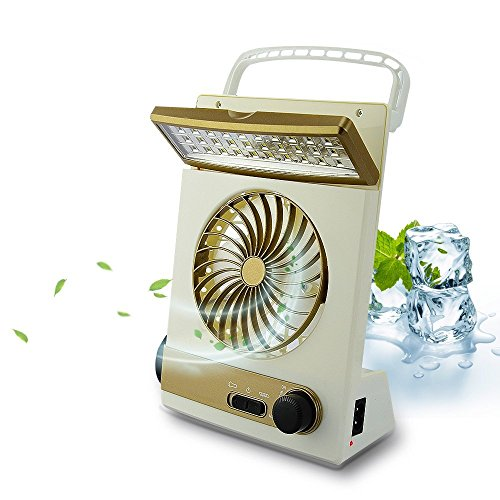 BicycleStore 3 in 1 Multi-function Portable Mini Fan LED Table Lamp Flashlight Solar Light for...