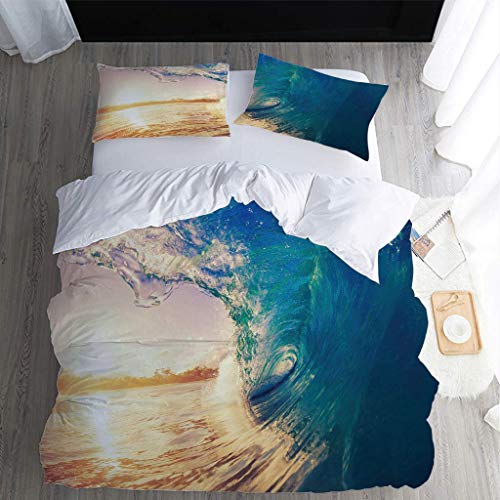 MQBHJI Super King Size Duvet Cover Sets - 3D Printed Beach Spray Scenery Pattern 3 Pcs With Zipper Closure + 2 Pillowcases - Ultra Soft Hypoallergenic Microfiber Quilt Cover Sets 260X220cm