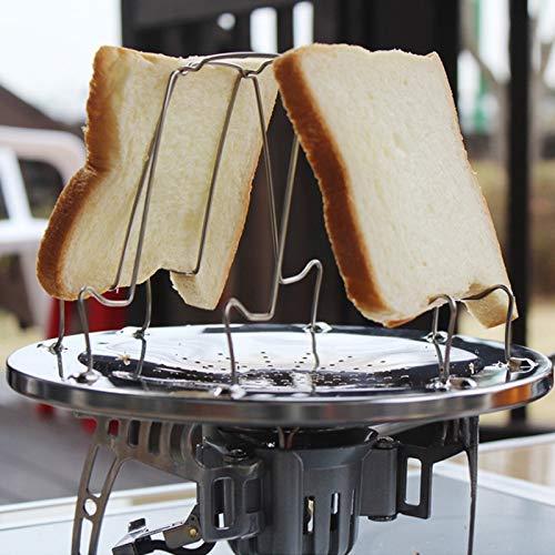 XGQ Herramientas for Acampar al Aire Libre 4 rebanadas Estante de tostadora Plegable de Acero Inoxidable Bandeja de tostadora Bandeja de Pan Tostado