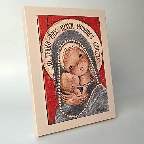 Virgen gótica 30x40cm. Ilustración de Juan Ferrándiz impresa en lienzo. Serie limitada y numerada. Regalo Comunión y Bautizo