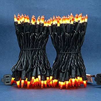 Candy Corn Incandescent Christmas Lights 66 Ft Black Wire 200 Mini Yellow & Orange Lights UL Certified Holiday String Light End to End Indoor & Outdoor Commercial Grade Lights Set  Candy Corn