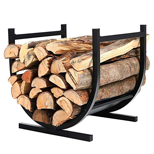 Indoor Firewood Racks Small - Hearth Log Holder Wood Storage Stand, Metal Kindling Holder for Outdoor Fireside Pit, Black (Color : Black)