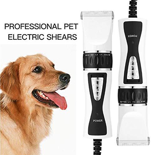 CVXCVCBCG Haarschaar, professionele elektrische 5-versnellingen, verwijderbare messen, complete set voor dierengroeigereedschap, haartrimmer voor hond kat konijnen