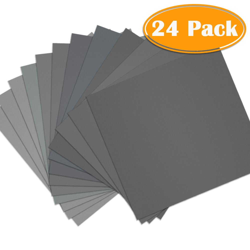 AUSTOR 36 Pieces Sandpaper Assorted 1500 2000 2500 3000 5000 7000 High Grit Wet and Dry Sandpaper Assortment 9 x 3.6 Inches Abrasive Paper for Automotive Sanding Wood Furniture Finishing